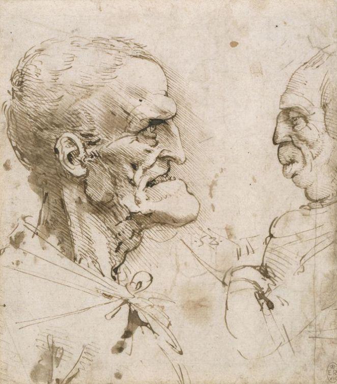 Leonardo_Dos_perfiles_grotescos_enfrentados_1485_90